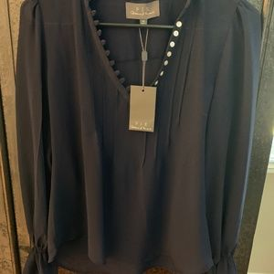 Navy Blue Silk Blouse